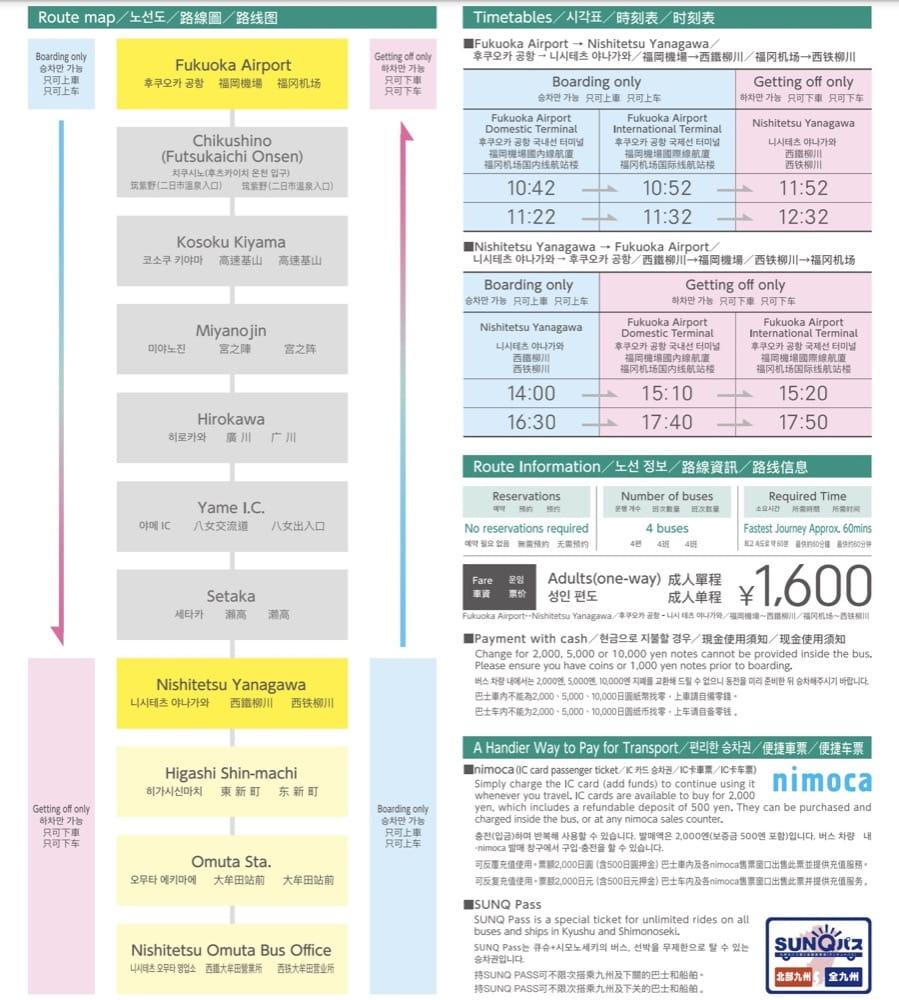 福岡,熊本,佐賀到柳川交通(西鐵電車,巴士,柳川觀光列車水都號)