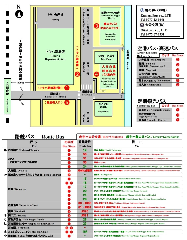 九州大分縣別府車站設施、別府車站寄物、別府車站巴士路線