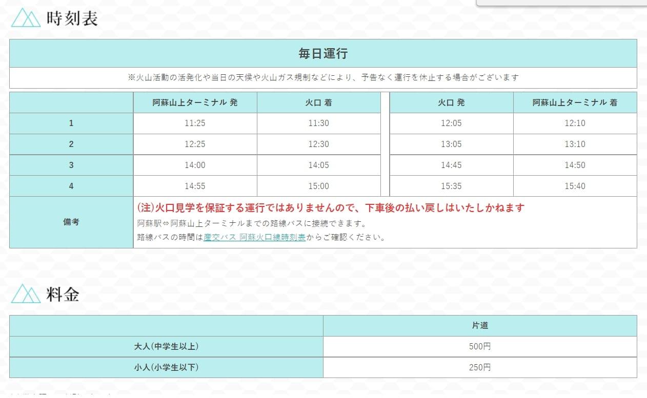 最新阿蘇火山口交通方式整理(阿蘇火口線、阿蘇山口接駁巴士)