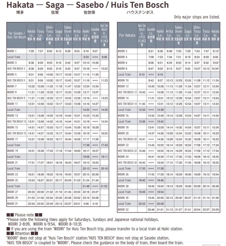 九州長崎佐世保交通方式整理(JR九州鐵路、直達巴士)