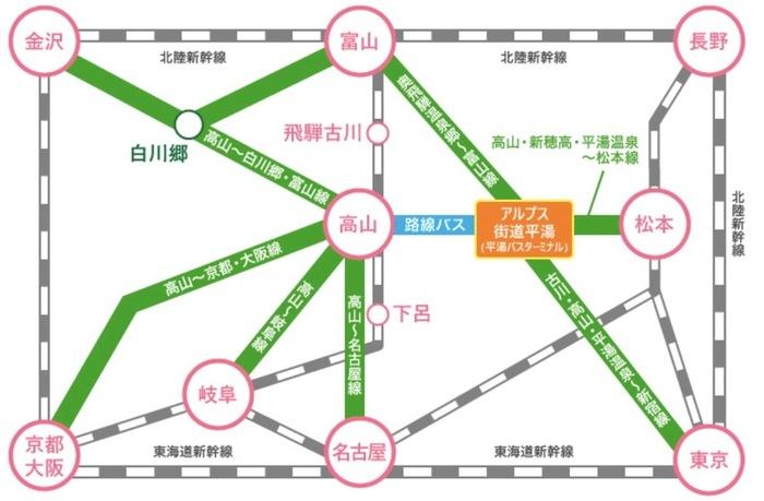 岐阜平湯溫泉巴士中心,平湯溫泉巴士路線,平湯溫泉寄物櫃