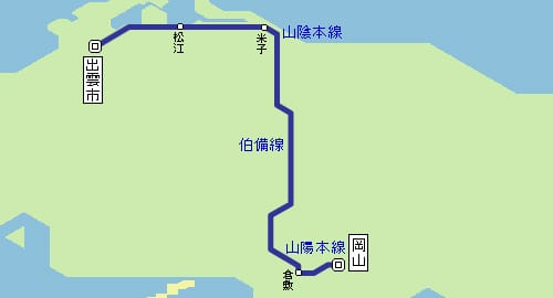 岡山到倉敷JR鐵路交通|JR普通車、JR特急やくも(八雲號列車)