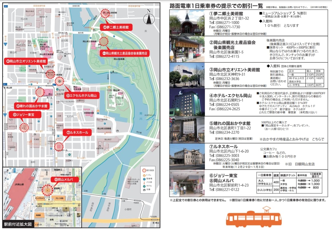日本岡山路面電車一日券購買方式、地點、使用方式