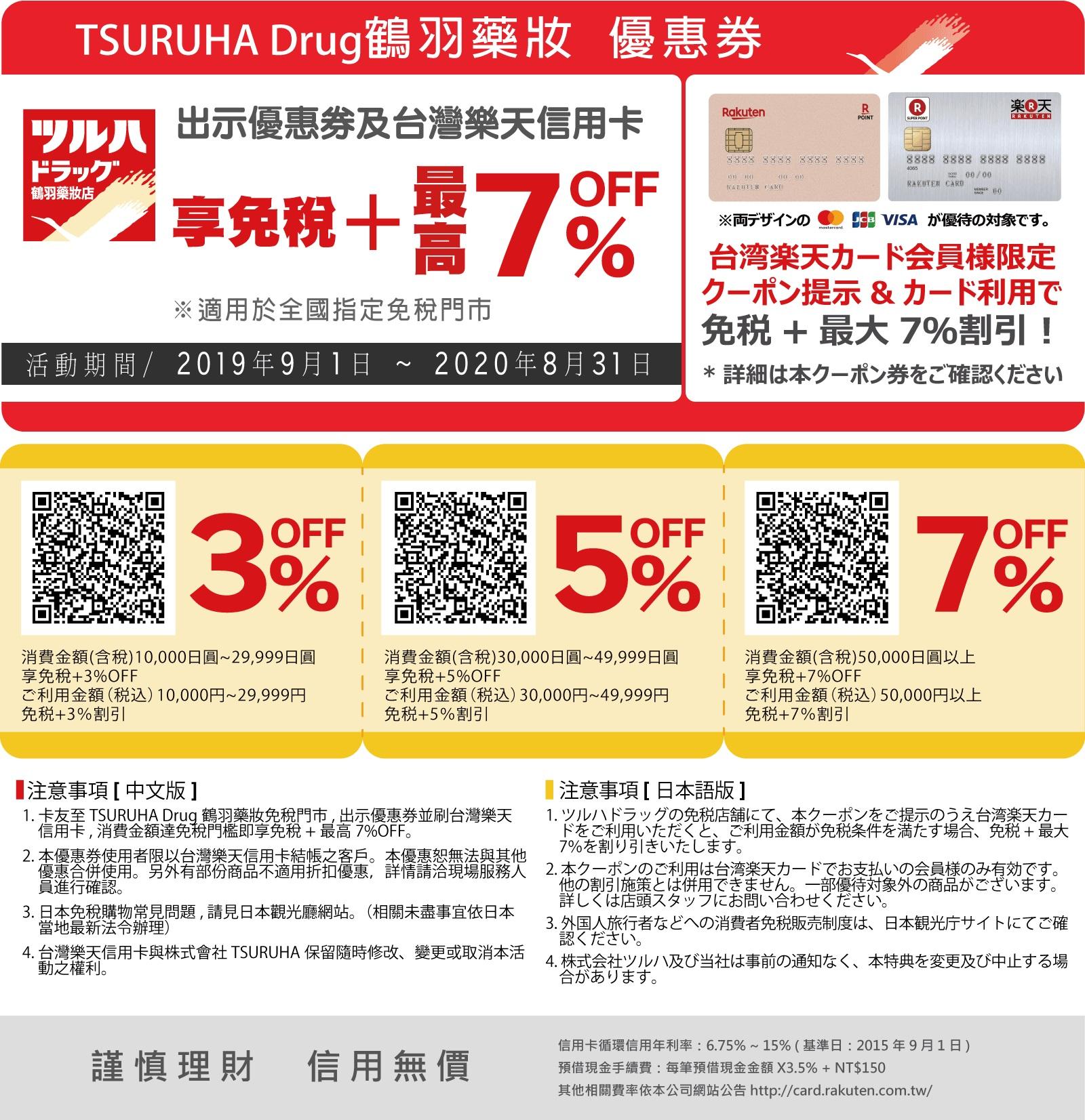 2019 TSURUHA Drug鶴羽藥妝折扣券