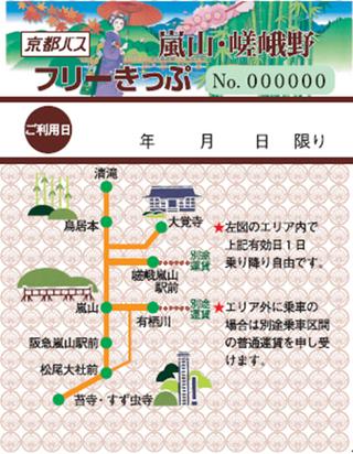 嵐山巴士票券|嵐山・嵯峨野フリーきっぷ(嵐山嵯峨野一日券)