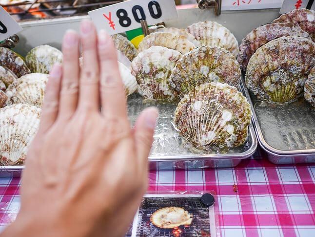 [大阪黑門市場美食]魚福(奶油烤扇貝|生海膽)