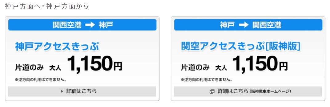 關西機場到神戶交通票券|神戶Access Ticket、 關空Access Ticket阪神版