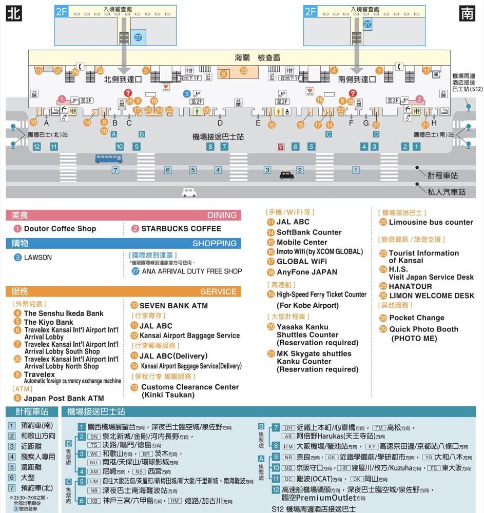 關西機場詳細介紹(設施,寄物,交通買票,搭車處,免稅店)