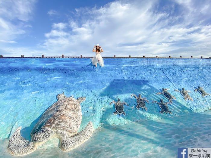澎湖西嶼IG網美景點|竹灣3D立體海龜牆、大義宮觀景平台