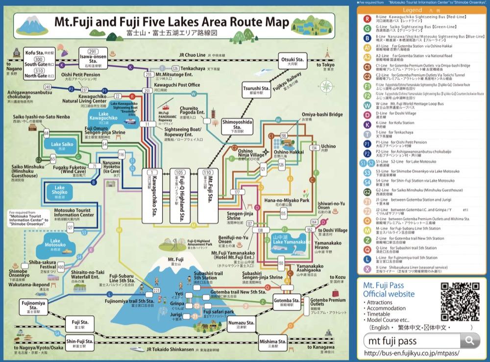 富士五湖交通-河口湖・西湖・精進湖・本栖湖周遊巴士,到山中湖、御殿場、五合目巴士